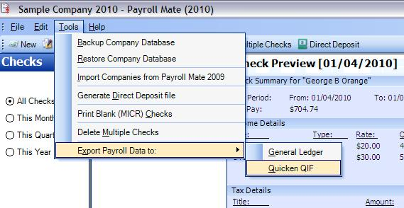 Create Export To Quicken Report In Payroll Software