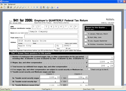 Payroll Mate Screen Shots-Form 941 Preview