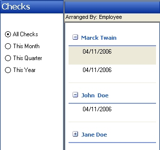 Checks Arranged by Employee