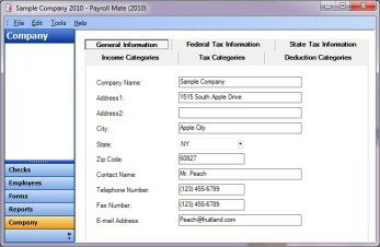 Company Setup inside payroll database software