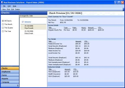 Payroll Mate® is a Comprehensive payroll and check printing software. easy Screen Shot