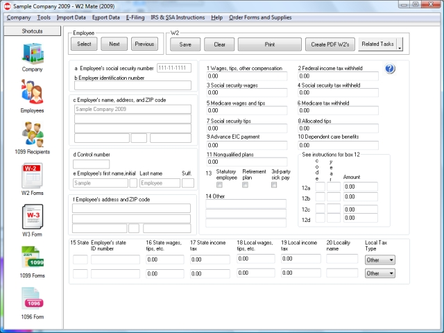 W2 Forms screenshot: W2 Forms, 1099 Forms, W2 Software, 1099 Software, W2, W2s, P